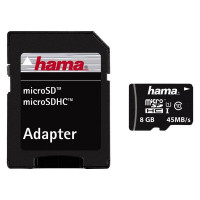 Hama microSDHC 8GB Class 10 + Adapter